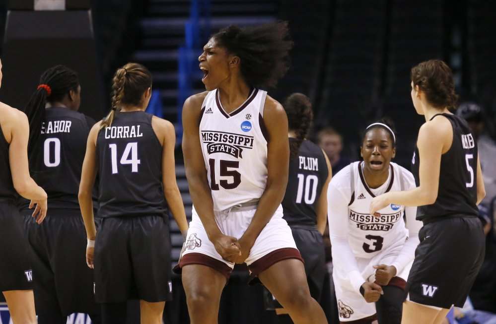 Mississippi State center Teaira McCowan celebrates during the second half the Bulldogs' 75-64 win over Washington in the NCAA tournament Friday in Oklahoma City.