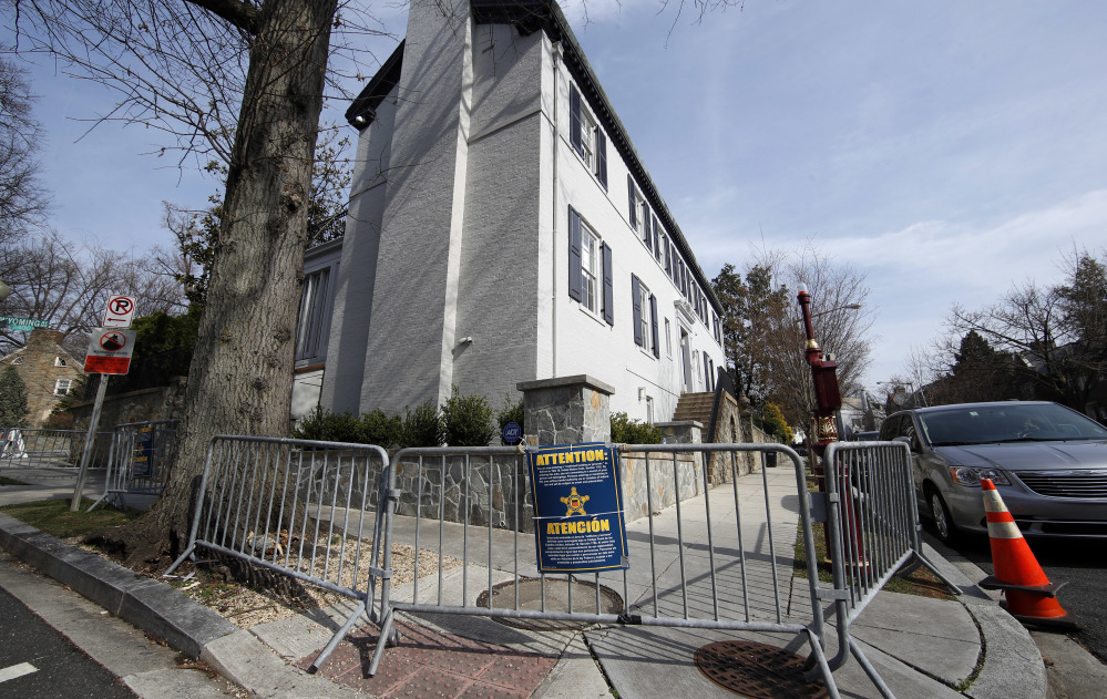 Metal barricades make it impossible for pedestrians to use the sidewalk bordering the six-bedroom house in Washington, D.C., rented by Ivanka Trump, the president's daughter, her husband, White House senior adviser Jared Kushner, and their three small children.