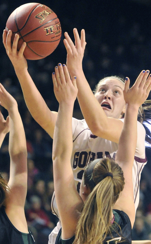 Emily Esposito rose above the competition during her four years at Gorham, scoring more than 1,400 points while leading her team to back-to-back Class AA championships and 42 consecutive wins.