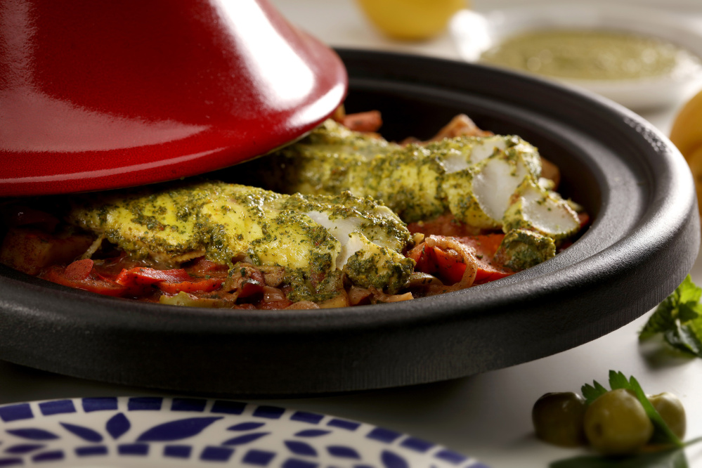 Preserved lemon is an excellent addition to this fish stew with Moroccan flavors, though the stew still tastes great without it.
