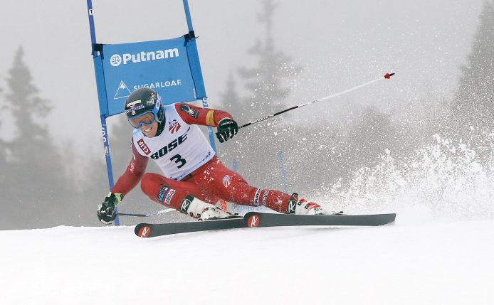 Hig Roberts of Colorado nearly loses his downhill edge early in his second run Tuesday during the men's giant slalom at the U.S. Alpine Championships at Sugarloaf. Roberts braved the conditions and won the race in a combined time of 2 minutes, 19.25 seconds.