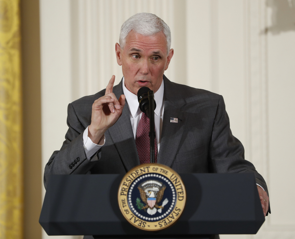 Vice President Mike Pence speaks at the Women's Empowerment Panel Wednesday at the White House. Pence's vote Thursday broke a 50-50 tie in Congress' latest clash that mixed abortion, women's health and states' rights.