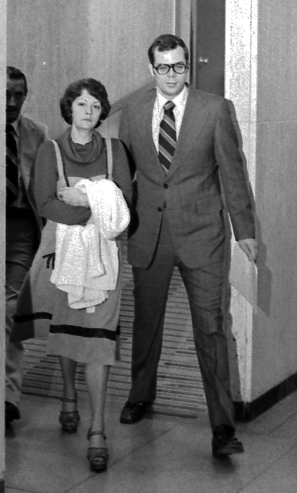 Francine Wilson, shown with defense lawyer Arjen Greydanus in Lansing, Mich., in 1977, was found not guilty by reason of temporary insanity in the death of her husband, James Hughes.