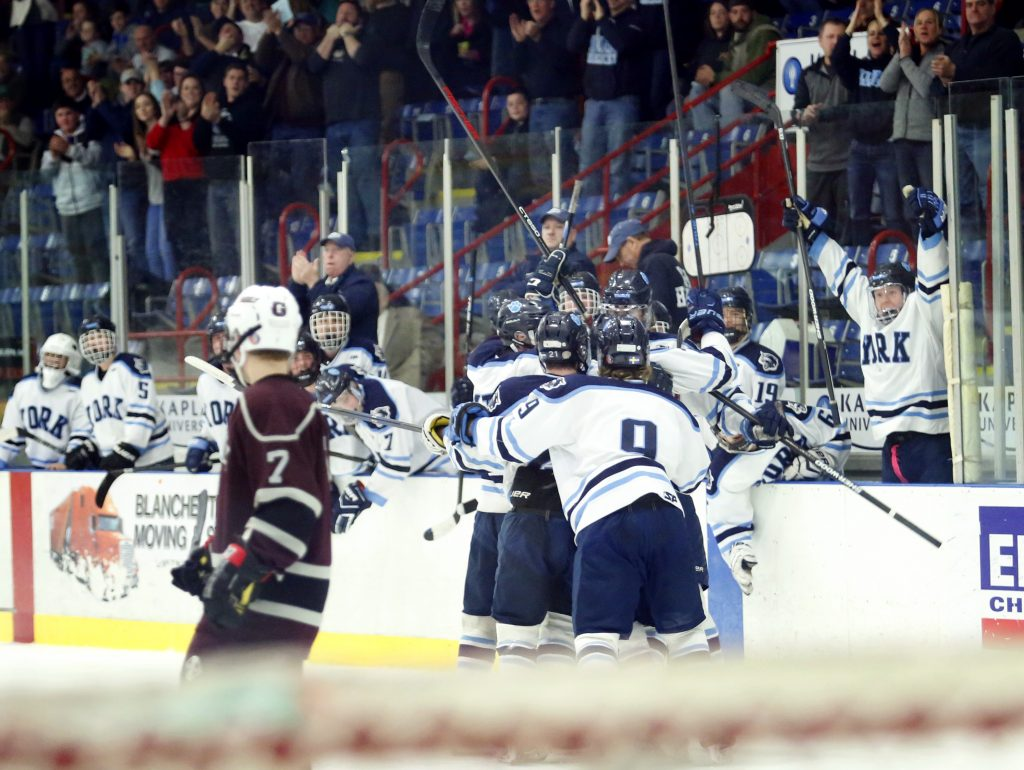 York players celebrate after Jacob Martin tied the score 1-1 in the second period. (Derek Davis/Staff Photographer)