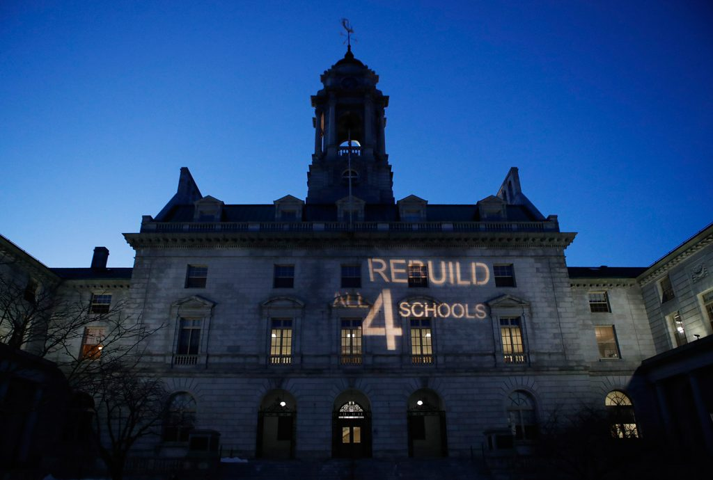A light display aimed at encouraging city councilors to approve a $64 million school bond proposal was projected on Portland City Hall on March 20. The proposal fell one vote short as three councilors voted against it.
