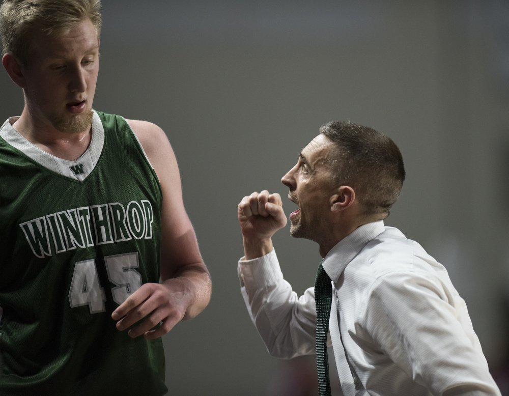 Winthrop head coach Todd MacArthur makes a point to Cam Wood during the Class C state championship game Saturday at the Cross Insurance Center in Bangor.