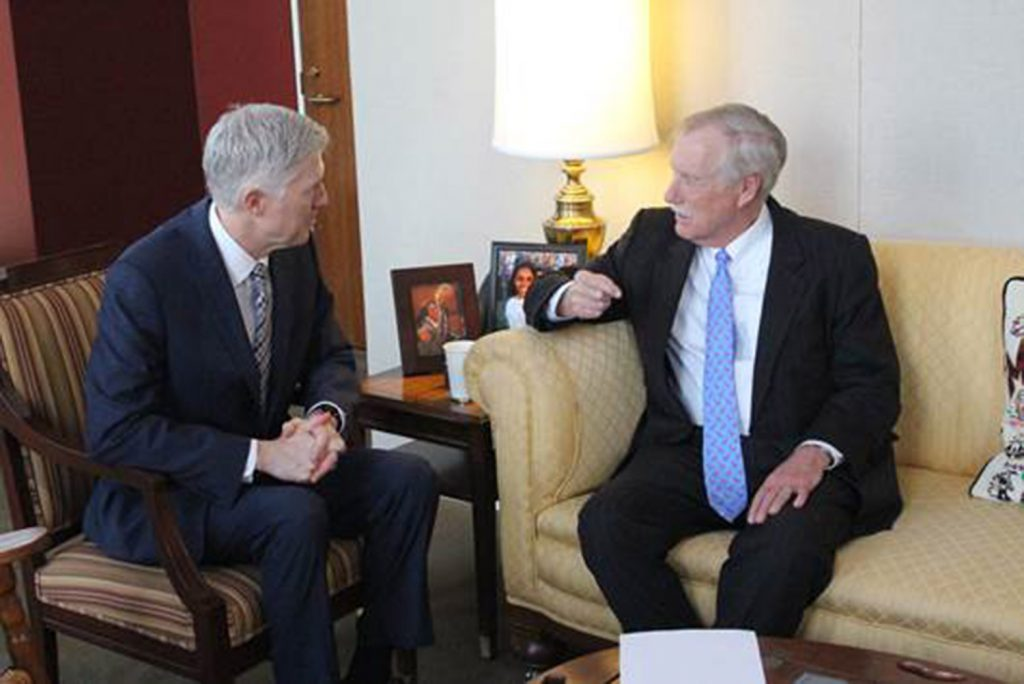 U.S. Sen. Angus King, I-Maine, right, meets with judge Neil Gorsuch, President Trump's nominee for the U.S. Supreme Court, on Wednesday.