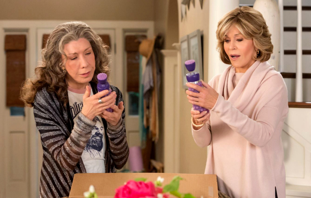 "On season three of ""Grace and Frankie,"" Lily Tomlin, left, and Jane Fonda's characters start a business selling vibrators to older women."