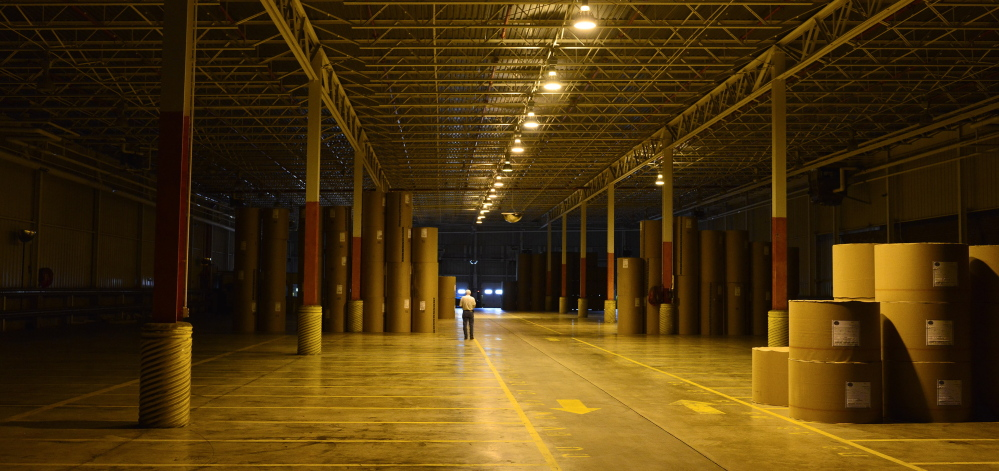 An empty storage facility at the East Millinocket Paper mill in 2014. Once the bedrock of rural communities, these former industrial facilities are a reminder of an abandoned way of life.