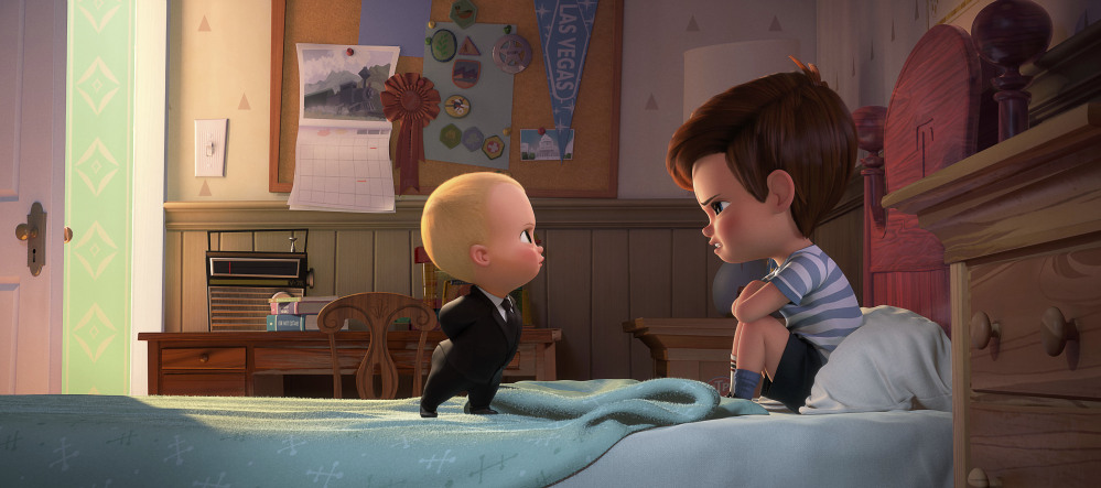 'Boss Baby' characters Tim, voiced by Miles Bakshi, right, and Boss Baby, voiced by Alec Baldwin in a scene from the animated film.