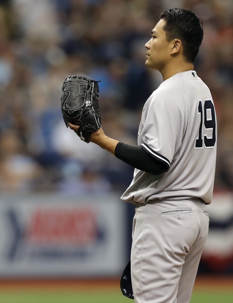 New York Yankees starting pitcher Masahiro Tanaka gave up seven earned runs in 2  innings and the Yankees suffered their sixth straight Opening Day loss.