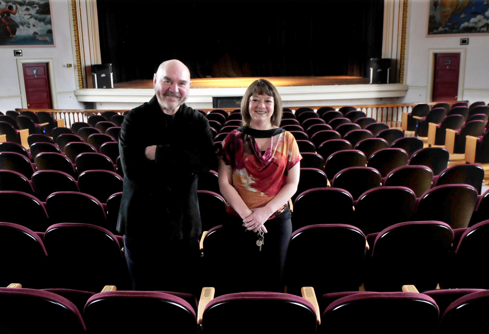 Skowhegan Opera House Committee members Jon Kimbell and manager Cara Mason stand inside the historic landmark. Kimbell helped create the committee to explore improving the opera house for performers, producers and audiences.