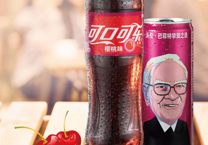 A can of Cherry Coke in China carries the likeness of billionaire Warren Buffett, a big fan of the beverage who is invested in the company.