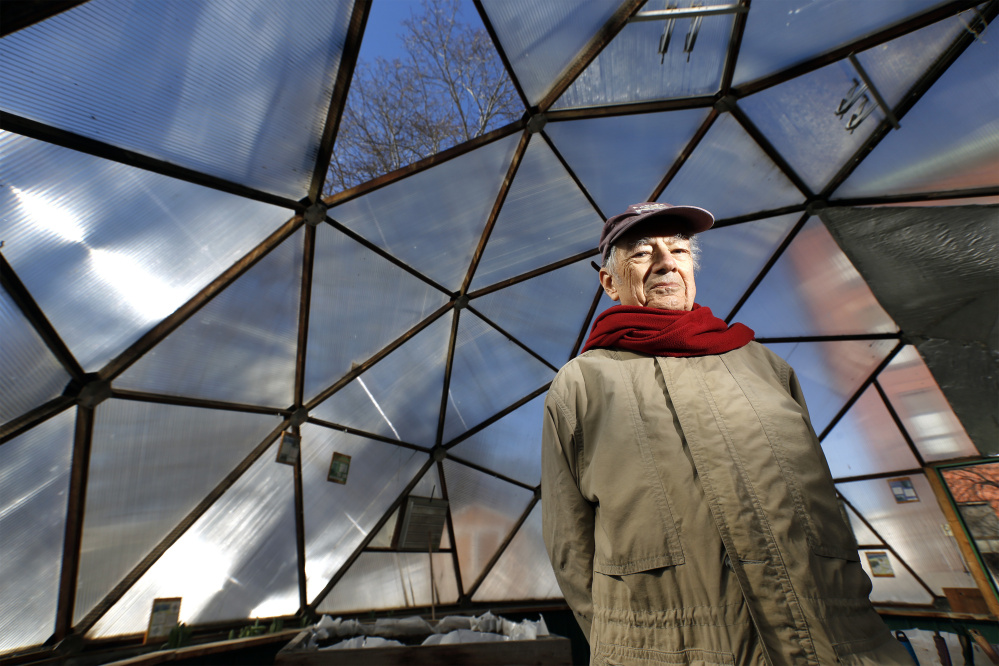 Alfred Padula stands in the geodesic dome he helped fund and build at Lincoln Middle School in Portland.