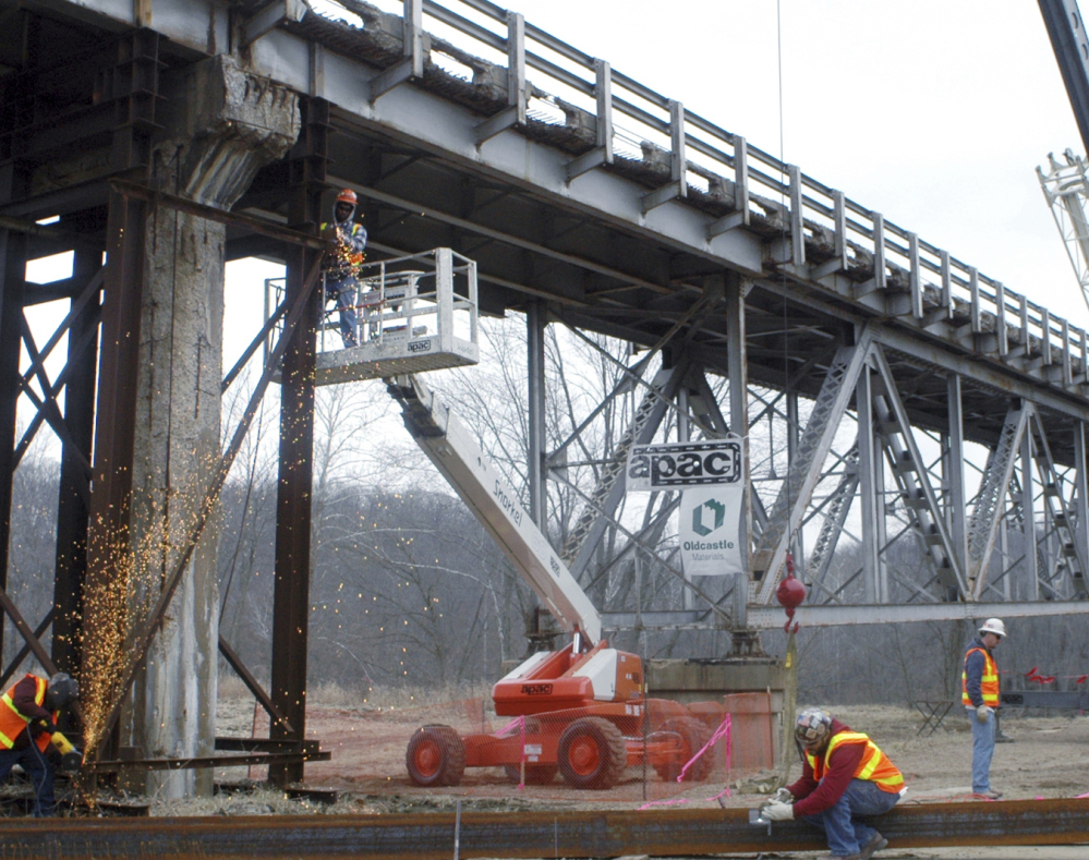 Work continues on a  bridge replacement project near Tuscumbia, Mo., in 2009.