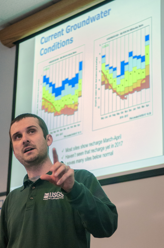 Nick Stasulis, of the U.S. Geological Survey, presents information about groundwater conditions Thursday during a meeting at the Maine Emergency Management Agency in Augusta.