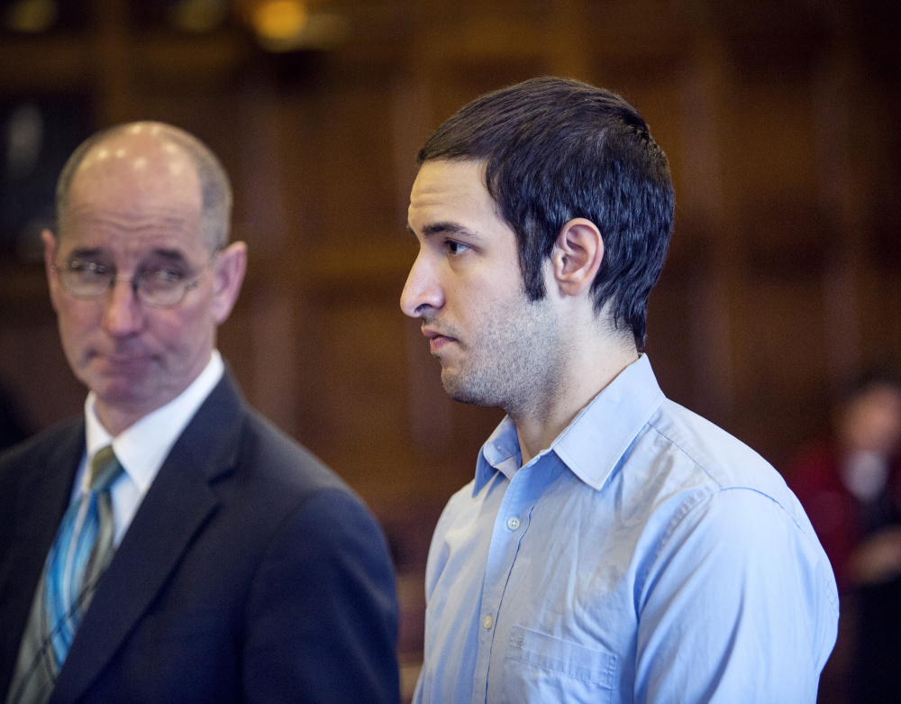 Philip Macri, charged with manslaughter in the Windham crash that killed a Steep Falls woman and seriously injured her teenage daughter, is seen in court April 7 in Portland with his attorney, Gerard Conley. Macri now faces drug trafficking charges.
