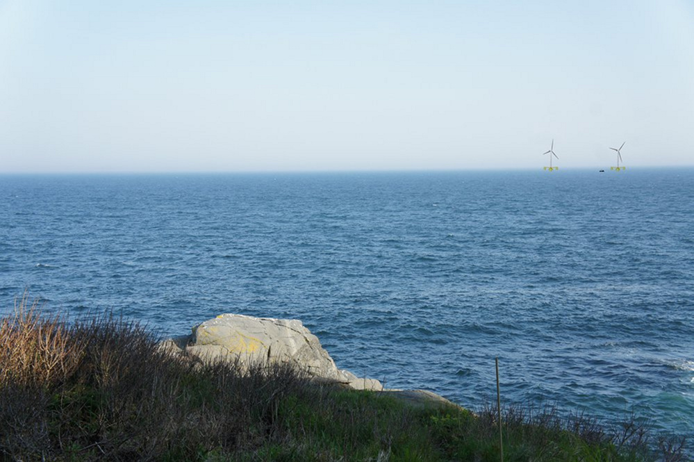 This artist's rendering, shows what offshore wind turbines would look like facing south from Monhegan Island's Norton's Ledge. Backers of the project say if it has to find another test site, the eight-year-old project would go back to square one, and funding would be jeopardized. Rendering courtesy of Monhegan Energy Info