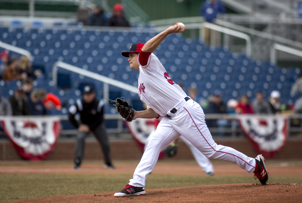 PORTLAND, ME - APRIL 8: Sea Dog's pitcher Jalen Beeks  (29) during the game against the Reading Fighting Phils. The Sea Dogs won (4-1). (Staff photo by Brianna Soukup/Staff Photographer)