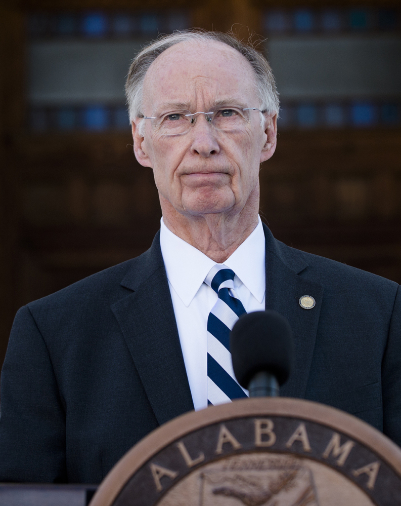 Alabama Gov. Robert Bentley holds a news conference Friday outside the Alabama Capitol building.