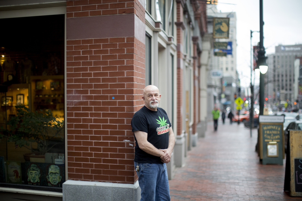 Drumming up attention at this month's First Friday Art Walk in Portland, Jack Sargent operates The Cannabis Shack, a Biddeford-based company that makes marijuana-infused edibles. He gets around current laws against selling pot by giving away products and seeking only donations.