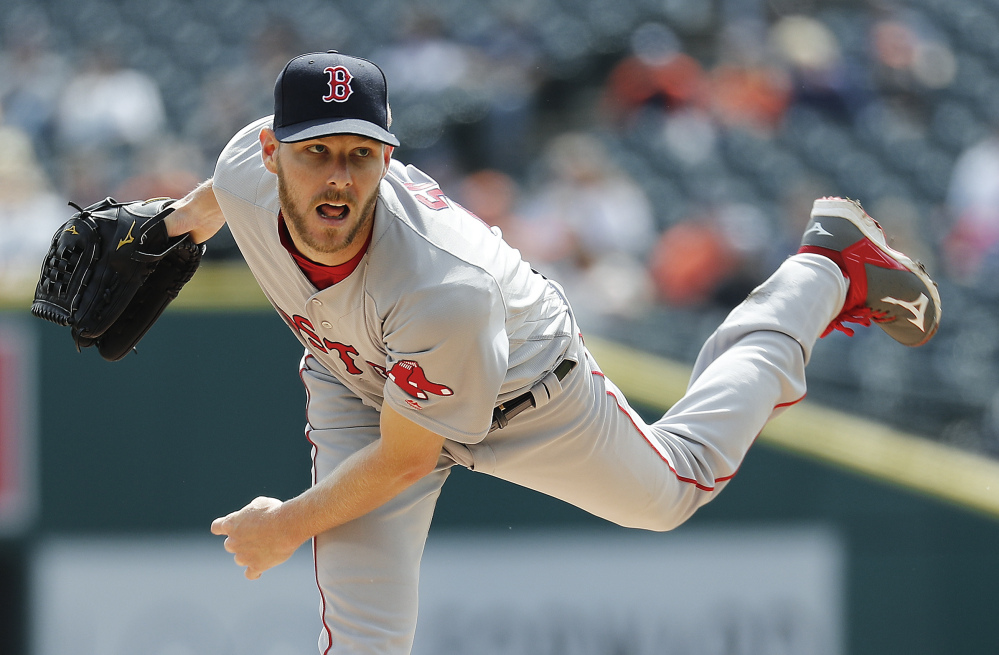 Red Sox pitcher Chris Sale allowed two runs on five hits, including the go-ahead run in the eighth inning, and the Red Sox lost 2-1 to the Tigers on Monday in Detroit.