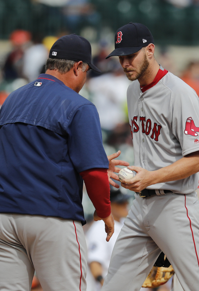 Chris Sale has been one of the bright spots so far for the Red Sox with two strong starts, but he took the loss Monday against the Detroit Tigers despite striking out 10 in 7  innings.