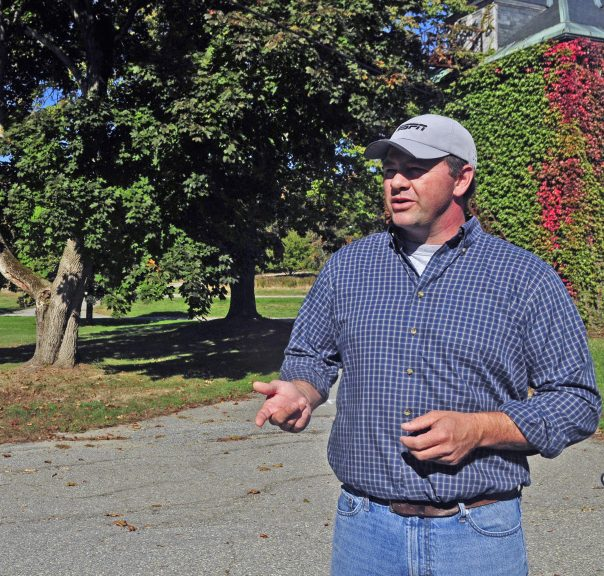 Developer Matt Morrill talks during a tour last October at Stevens Commons in Hallowell, where an anonymous donor of $1 million wants to pay for a new fire station.