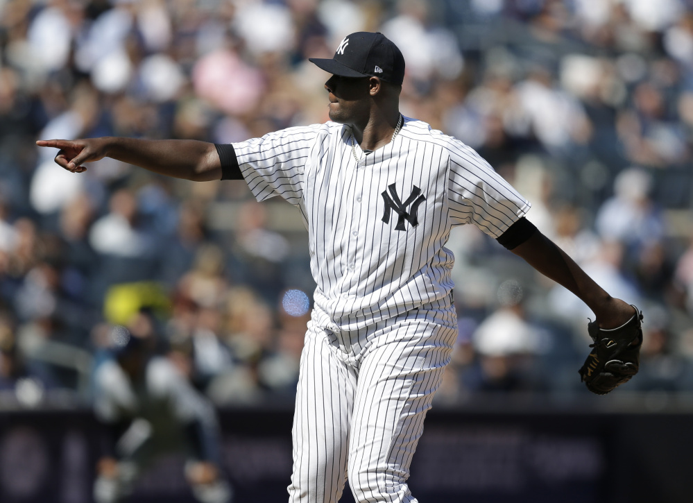 Yankees starter Michael Pineda was perfect for 6  innings on Monday afternoon, guiding New York to an 8-1 win over Tampa Bay in the first game of the season at Yankee Stadium.