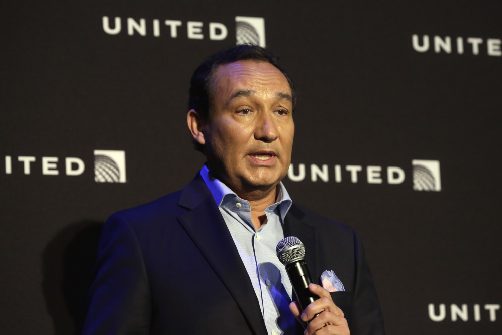 "United Airlines CEO Oscar Munoz, shown in June 201, said on Tuesday, ""No one should ever be mistreated this way."""