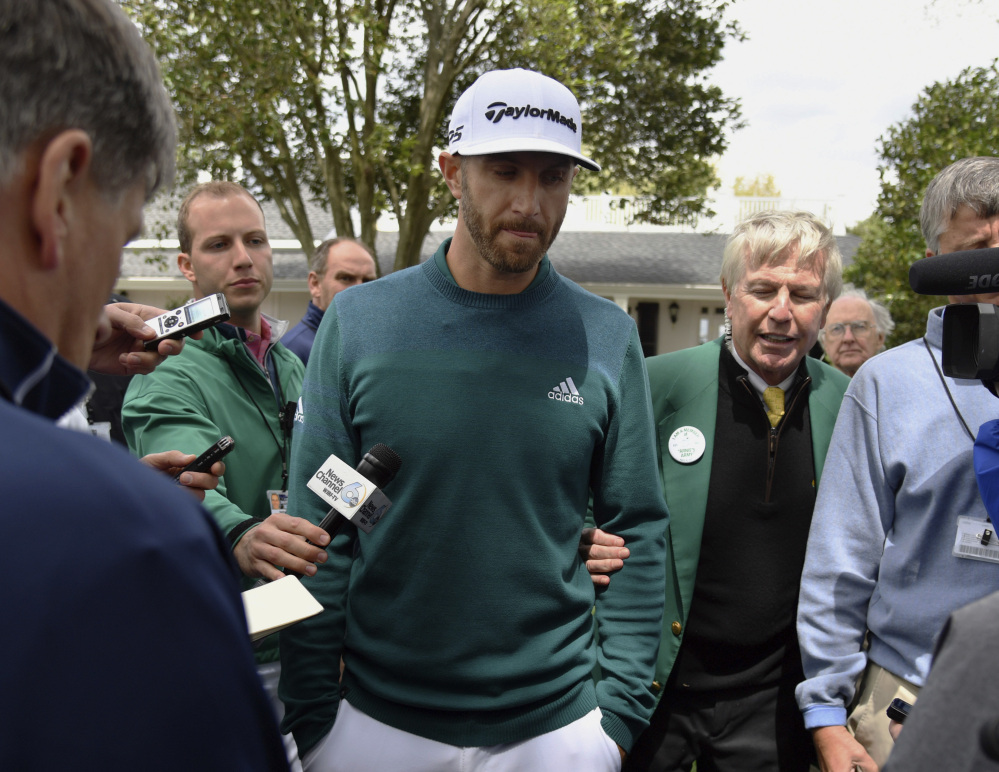 Dustin Johnson was forced to withdraw from the Masters after injuring his back in a fall the day before the first round, so he'll take a three-tournament winning streak into his next scheduled event in early May.