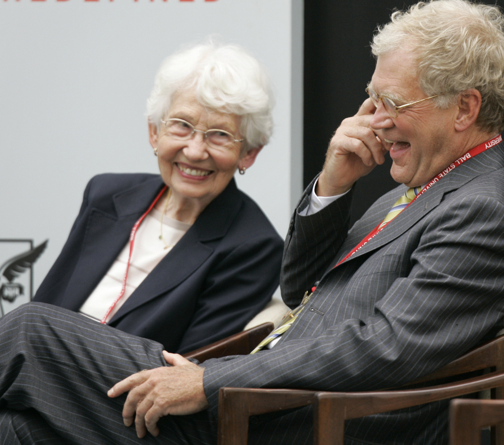 David Letterman laughs with his mother, Dorothy Mengering, during the dedication of the $21 million David Letterman Communication and Media Building on Sept. 7, 2007, in Muncie, Ind. Mengering died Tuesday at the age of 95.