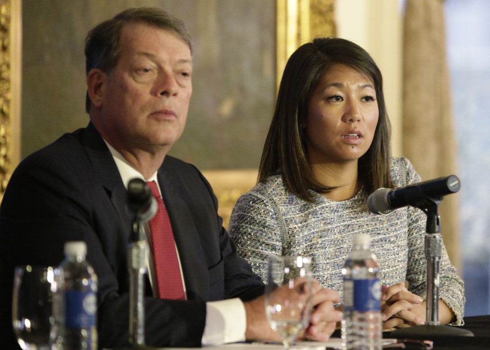 Crystal Pepper daughter of Dr. David Dao, with attorney Stephen Golan, said Thursday in Chicago,