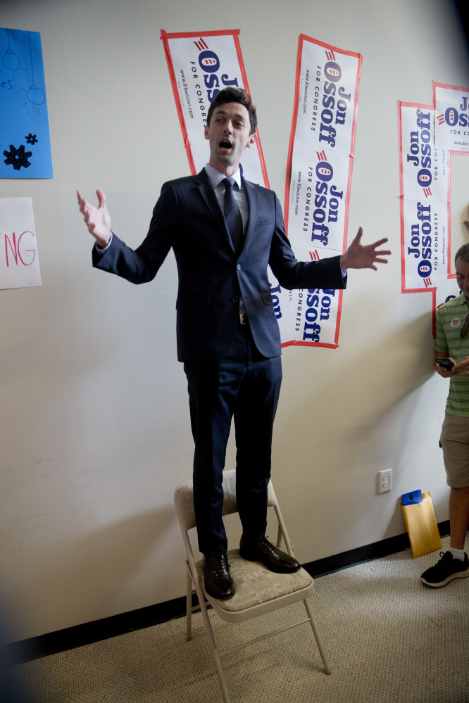 Democratic candidate for Georgia's 6th Congressional seat Jon Ossoff talks with supporters at a campaign field office Tuesday in Marietta, Ga.