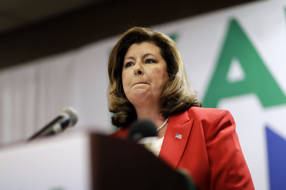 Karen Handel speaks at an election night watch party in Roswell, Ga., Tuesday.