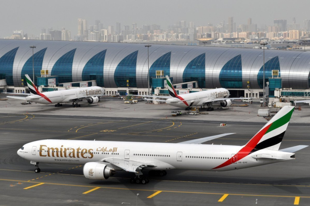 An Emirates jet taxis to a gate at Dubai International Airport in United Arab Emirates, the world's third-busiest airport.