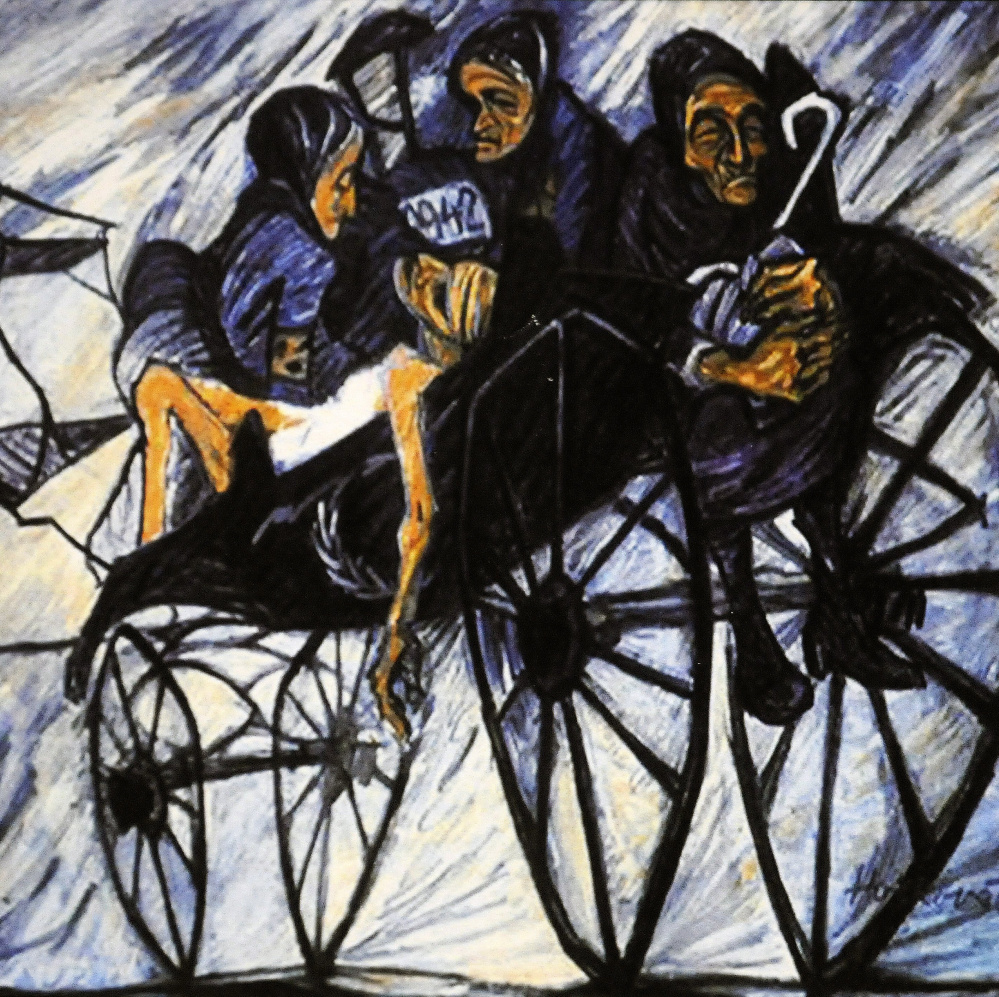 A piece of art by Holocaust survivor Helga Weissova-Hoskova. April is Holocaust Remembrance Month, recalling the crimes of genocide committed in Europe by the Nazis. It's also a time to remember other acts of genocide that continue to take place today.