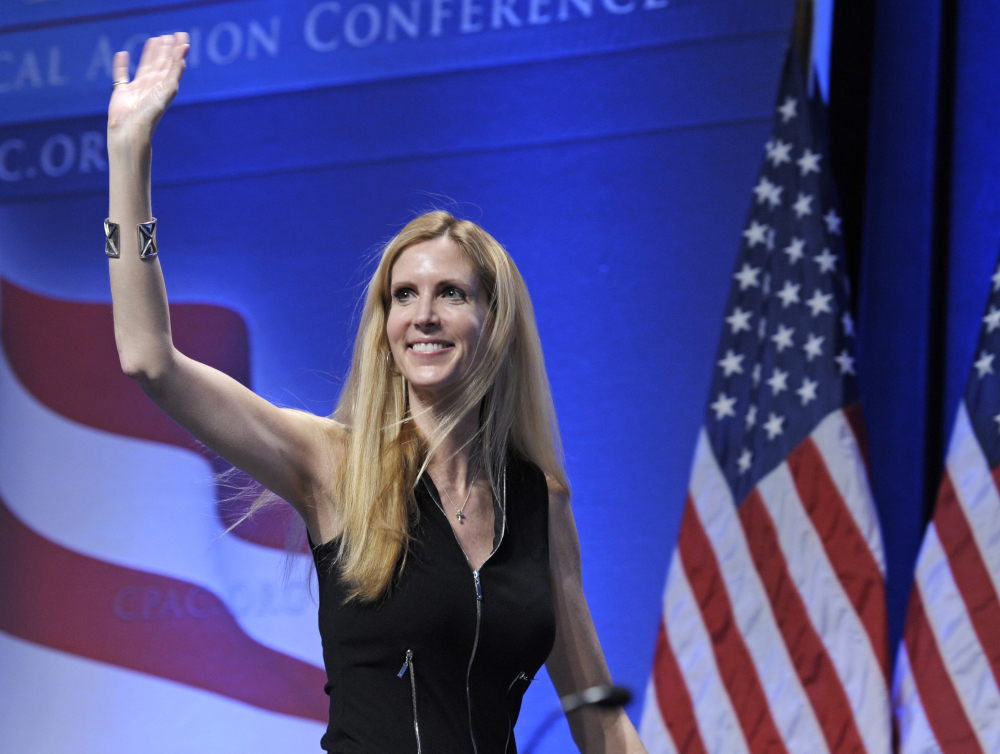 "Ann Coulter waves to the audience after speaking at the Conservative Political Action Conference in Washington in 2011. Coulter's planned appearance at the University of California, Berkeley on April 27 has been canceled because of security concerns. Berkeley officials say they were unable to find ""a safe and suitable"" venue for the right-wing provocateur, whom campus Republicans had invited to speak."