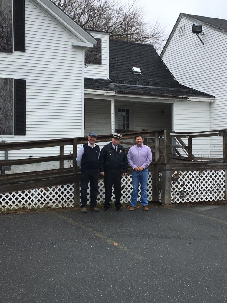 Hallowell Mayor Mark Walker, Fire Chief Jim Owens and developer Matt Morrill stand on the site where the new fire station is expected to be built on the grounds of Stevens Commons in Hallowell.