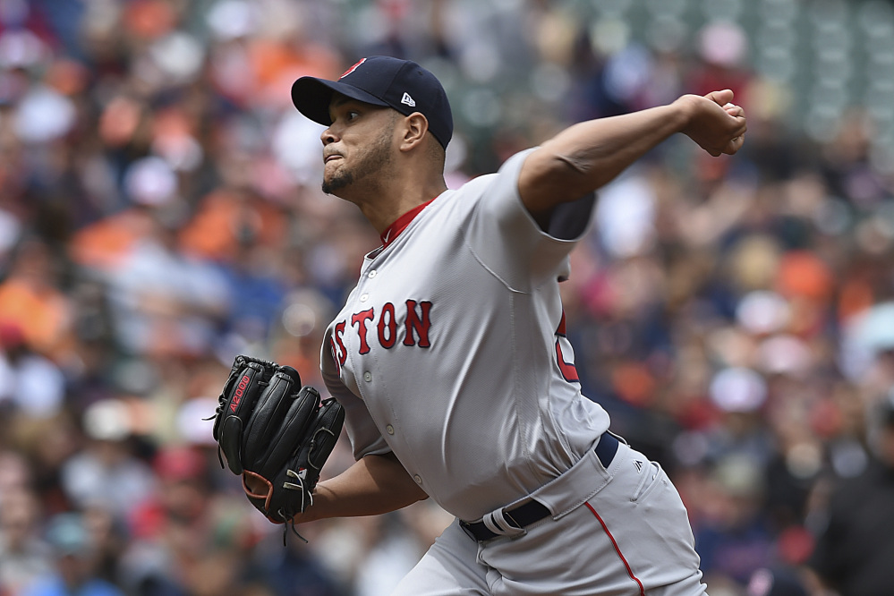 Red Sox starting pitcher Eduardo Rodriquez pitched six shutout innings, allowing one hit, while striking out seven and walking five in Boston's 6-2 win Sunday in Baltimore.