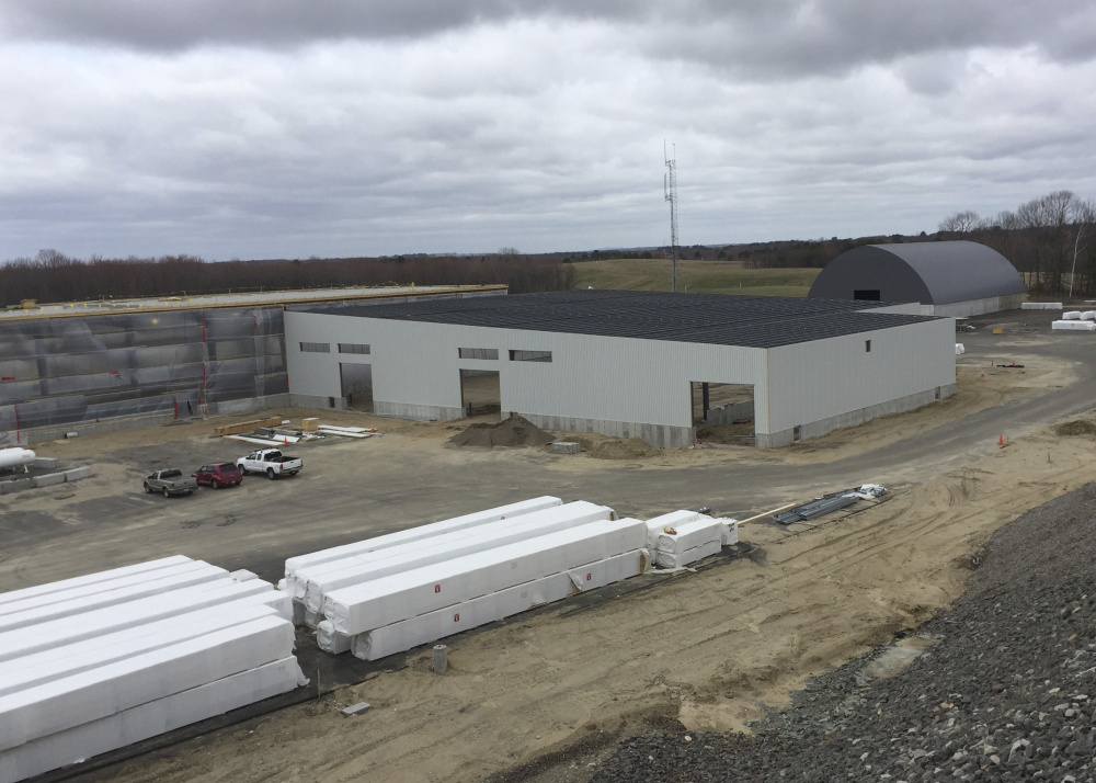 The municipal services facility that's under construction off Highland Avenue in South Portland, taken from Highland Memorial Cemetery, which overlooks the site.