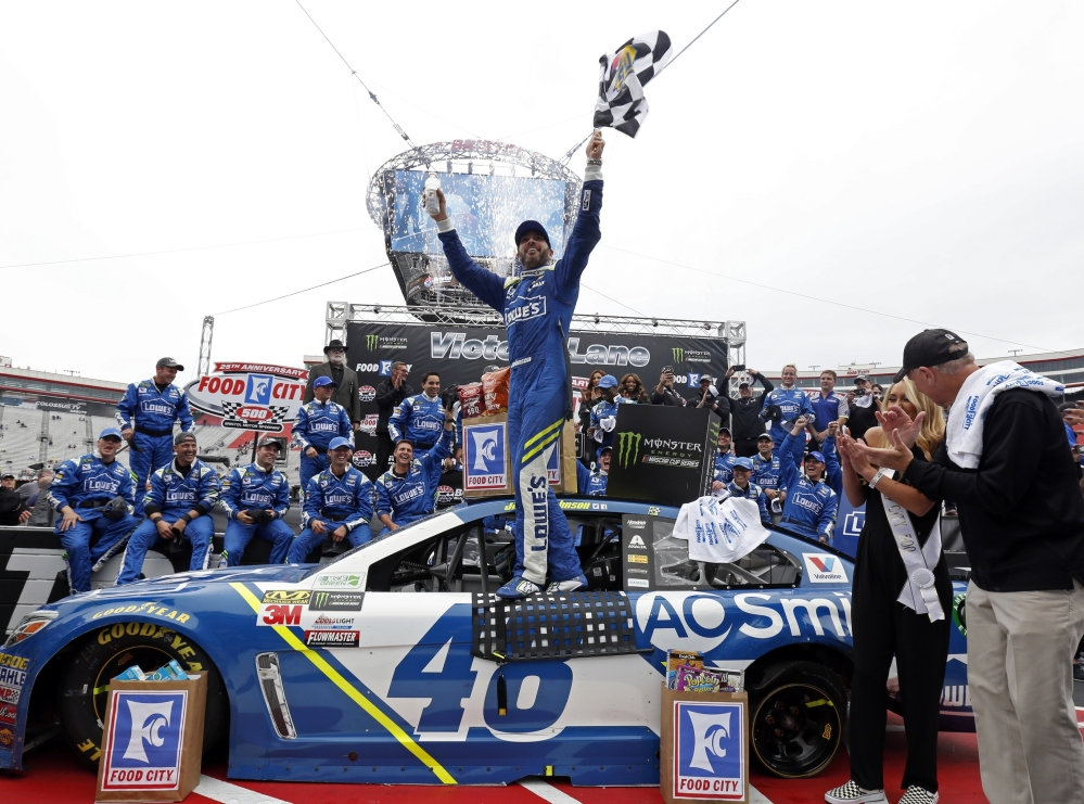 Jimmie Johnson celebrates after winning Monday's race at Bristol Motor Speedway. It was just the second career win at the track for Johnson, the seven-time Cup Series champion.