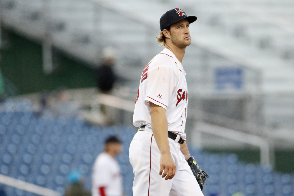 Portland starter Jacob Dahlstrand looks on after giving up a three-run home run to Hartford's Drew Weeks in the top of the sixth inning Monday at Hadlock Field. Dahlstrand had started the game with five shutout innings.