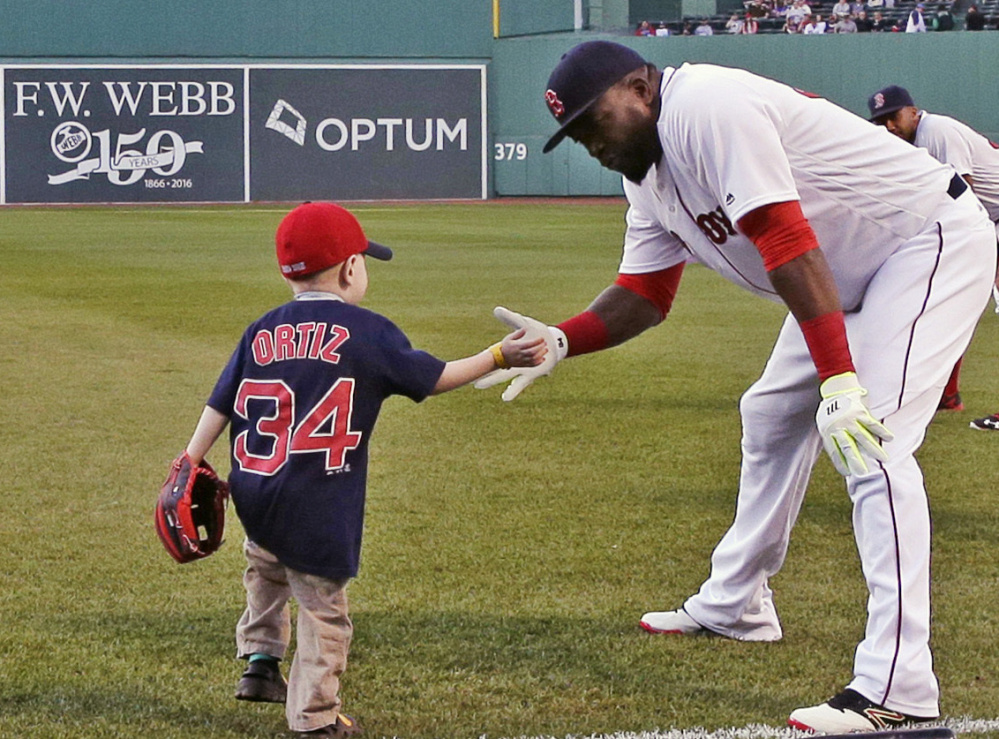 David Ortiz got to know Maverick Schutte, who has had more than 30 surgeries, in 2016. The pair reunited at a charity event Saturday.