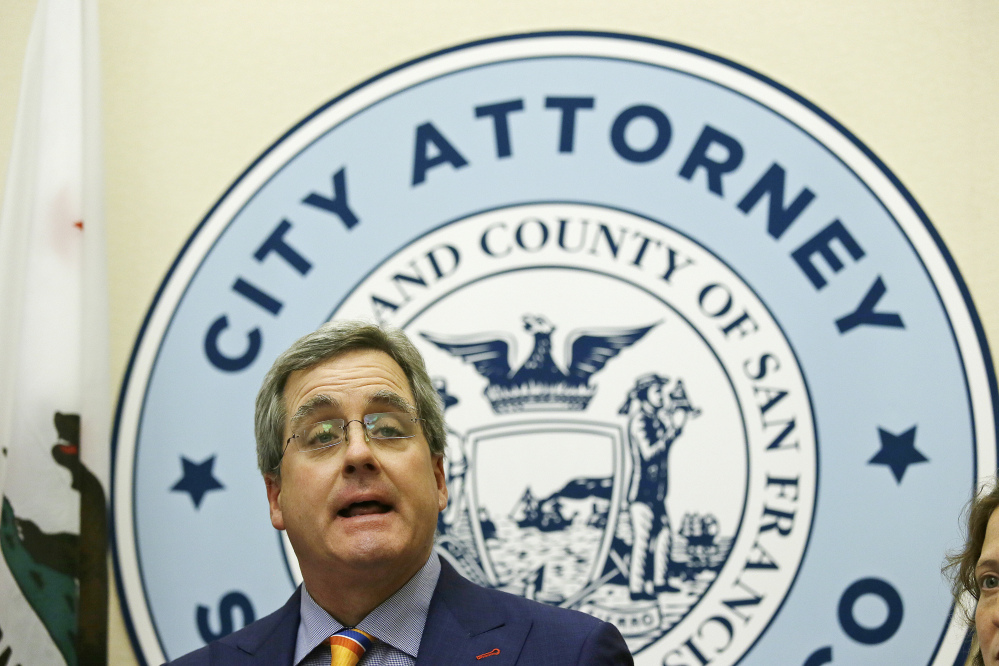 "San Francisco City Attorney Dennis Herrera speaks Tuesday about a federal judge's order blocking any attempt by the Trump administration to withhold money from ""sanctuary cities."" He said the president was ""forced to back down."""