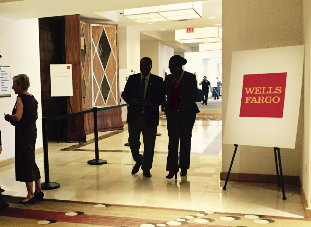 It was quiet Tuesday outside Wells Fargo's annual shareholders meeting in Ponte Vedra Beach, Fla., but inside, the meeting was interrupted several times by protesters, with one man being effectively dragged out by armed security guards.