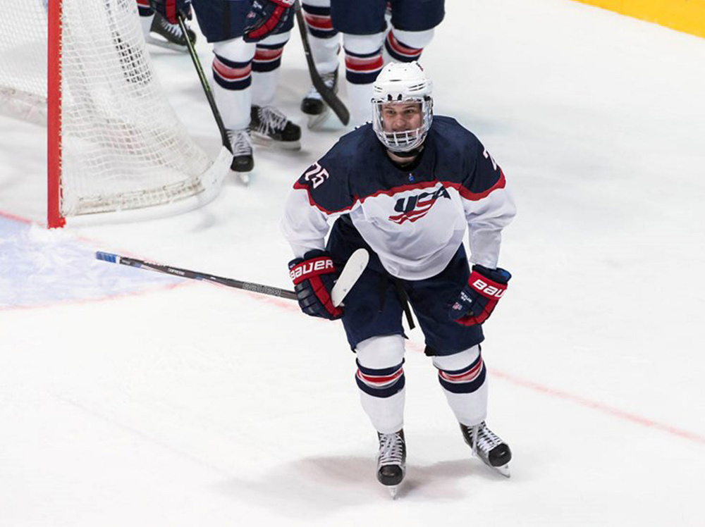 Yarmouth native Oliver Wahlstrom celebrates after a second-period goal against Belarus at the 2017 U18 world championships in Slovakia. He scored a team-high four goals to help the U18 team from the United States win the gold medal at the tournament on Sunday.