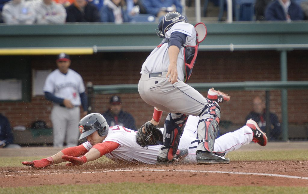 Nick Longhi dives to score Tuesday night for the Portland Sea Dogs in the second inning of a 3-2 victory against the Binghamton Rumble Ponies at Hadlock Field. Longi scored while a teammate was in a rundown between first and second.