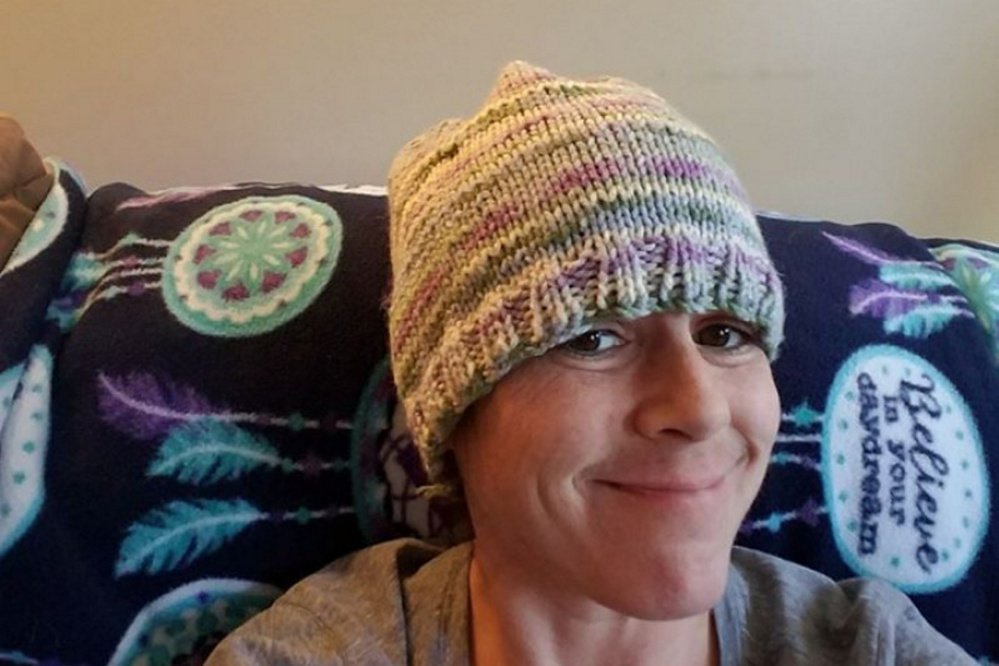 Christy Darling relaxes at home in this photo from her gofundme.com page.