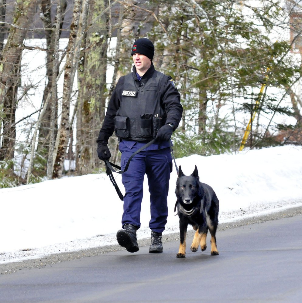 Trooper G.J. Neagle and tracking dog Draco search along the Winnecook Road in Burnham while investigating the death of a woman on Sunday morning.